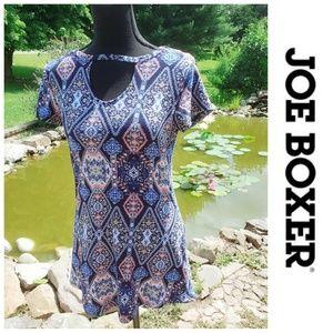 🔥3/$15🔥 Joe boxer coral blue boho pattern blouse